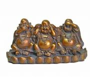Antique Effect Three Wise Lucky Happy Buddha Ornament Feng Shui Statue